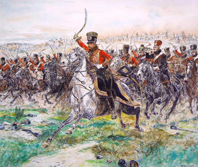 Aquarelle Hussards Soldat Napoléon