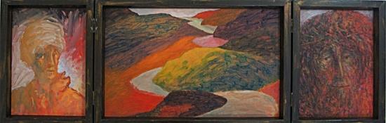 1991 Triptyque ouvert huile sur toile 74 25cm