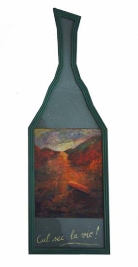 1992 Huile sur toile papier vert 76 26cm