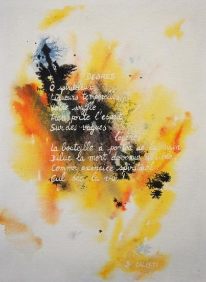 1992 aquarelle poème B. Calisti