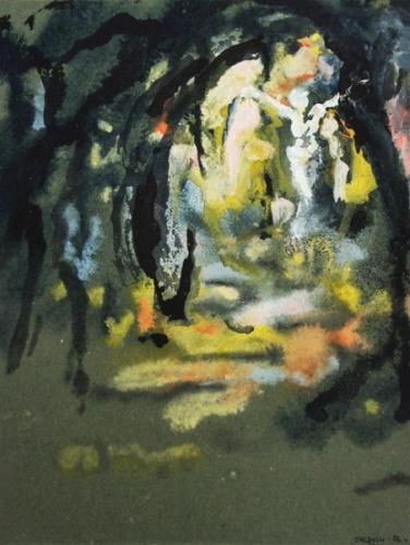 1992 gouache ,encre sur papier couleur 30 20cm