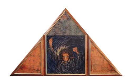 1993 Huile sur toile papier de couleur 160 100cm