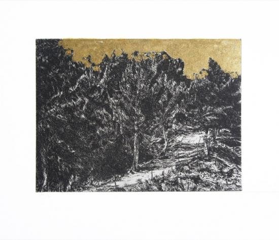 2013 gravure ,feuille d'or 28 26cm