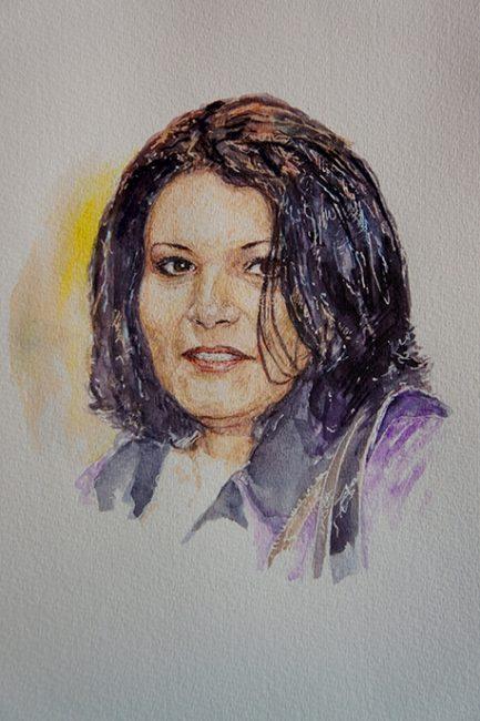 Portrait aquarelle commande