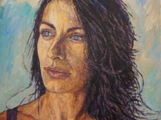 Portrait femme peinture acrylique